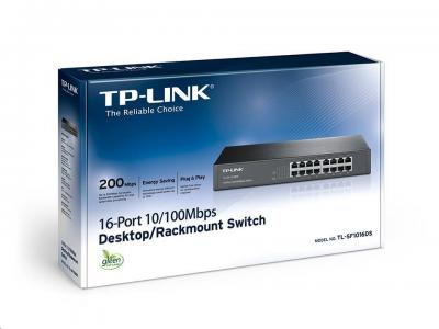 "TP-LINK TL-SF1016DS 16-Port 10/100Mbps Tak ve Kullan %70 En. Tasarruflu 13"" Rackmount Switch"
